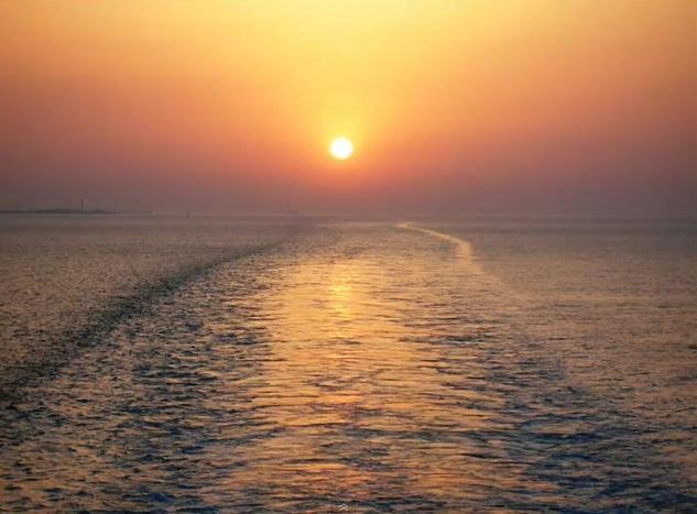 Bari vista mare con tramonto