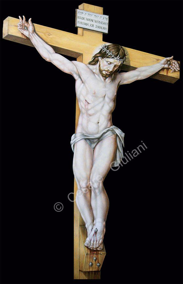 Crocifisso (200x120 cm) opera del pittore Cesare Giuliani