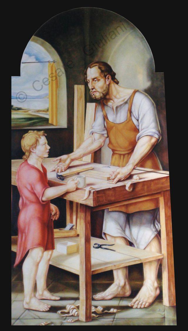 SAN GIUSEPPE LAVORATORE del pittore CESARE GIULIANI chiesa della S.S. Annunziata Vasto ( CH ) .
