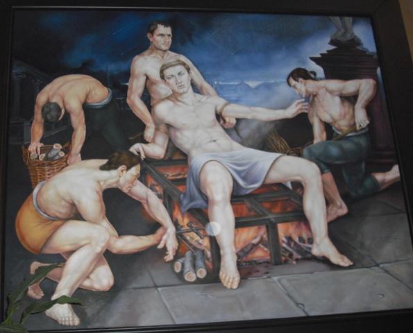 IL MARTIRIO DI SAN LORENZO  del pittore CESARE GIULIANI chiesa parrocchiale di San Lorenzo Martire - Vasto ( CH ) .