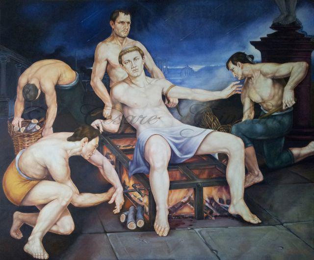 Chiesa San Lorenzo Martire olio su tela - IL Martirio di San Lorenzo - pittore CESARE GIULIANI