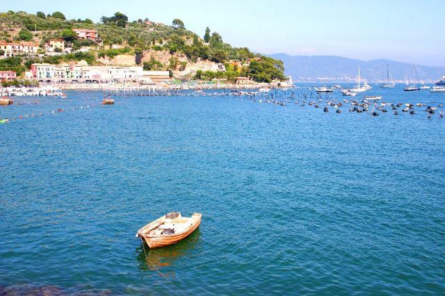 Sullo sfondo la spiaggia di Cinque Terre in Liguria - Movingitalia.it