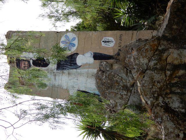 affresco su cemento (ex frantoio) nel parco di m. crastu a Serrenti