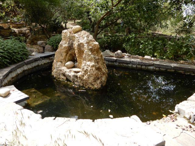 vasca d'acqua e scultura nel parco di m. crastu a Serrenti