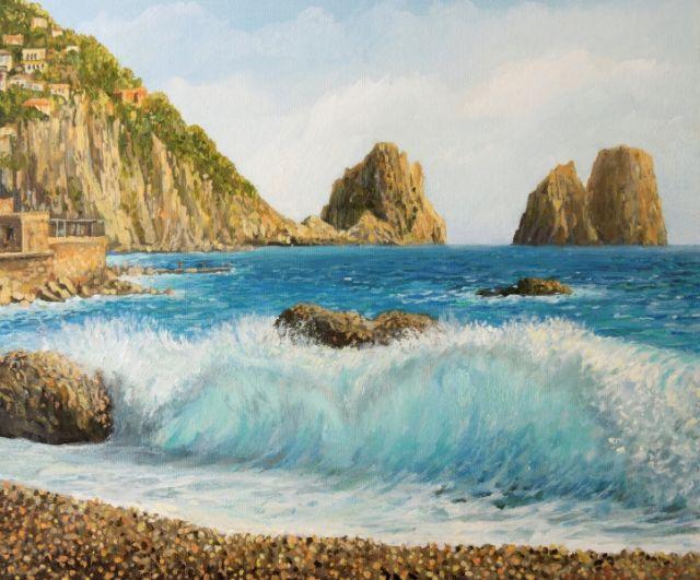 Dipinto dell'isola di Capri a Faraglioni - Movingitalia.it