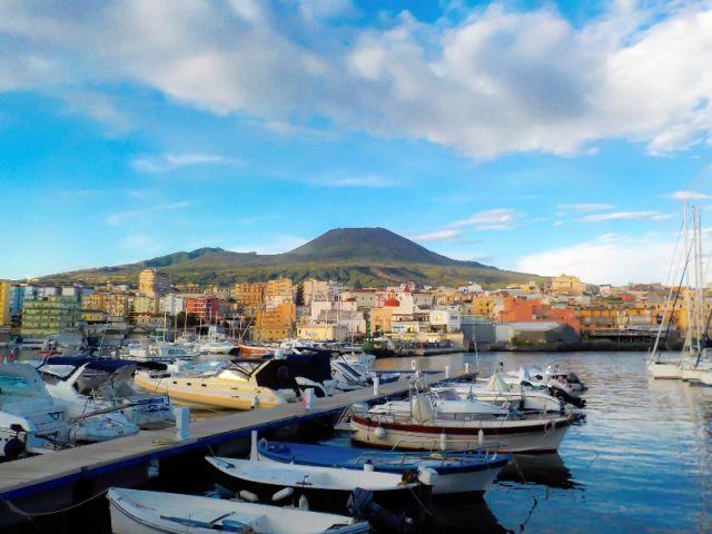 Foto panoramica cielo e nuvole nel Vesuvio
