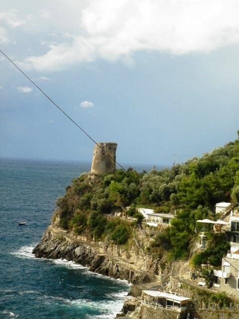 Foto panoramica della costiera amalfitana e castello sullo sfondo - Movingitalia.it