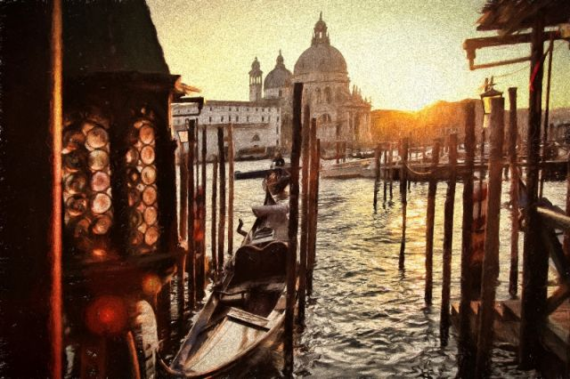 Dipinto delle gondole a Venezia - Movingitalia.it